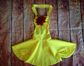 Belle Beauty & The Beast yellow gown inspired child Apron