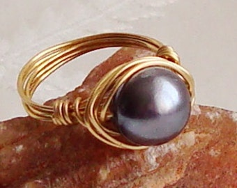 Blue Shell Pearl Wire Wrapped Ring