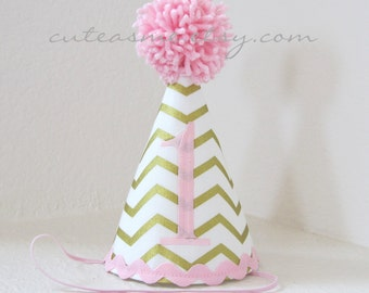Party Hat Cake Smash Outfit First Birthday Any Number Metallic Gold Chevron Photoshoot Diaper Cover Photoprop Bloomers