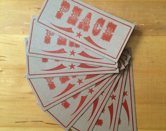 Red PEACE CARDS, Letterpress cards, christmas cards, holidays cards, peace on earth, happy new year, rustic holiday cards, handprinted