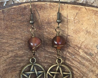 Pentacle Earrings (Antique Brass & Crystals)