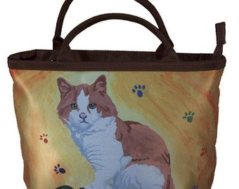 Cat Small Purse, Small Handbag - Yes, Salvador does Really Paint - From My Painting, Paw in the Paint