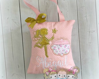 Gold fairy tooth fairy pillow - girls tooth fairy pillow - pink and gold fairy pillow- personalized embroidered tooth fairy pillow for girls