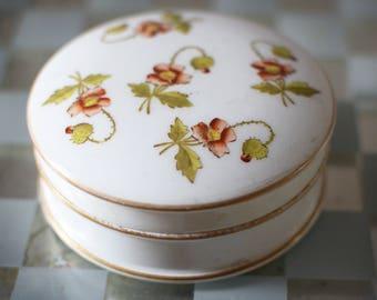 Vintage Powder Jar Dressing Table Vanity Poppy Flowers
