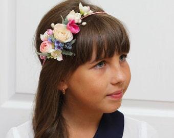 Pink flower crown Flower headpiece Wedding flower crown Bridal headband Flower hair wreath Flower halo Girl flower crown