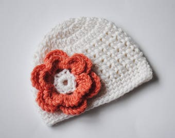 Crochet Baby Hat, Newborn Beanie, Baby Girl Hat, Crochet Flower Hat, Hospital Hat, Newborn Crochet Hat, Baby Beanie, Coming Home Hat