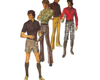 "Simplicity 9529, 70s sewing pattern, waist 34"" men's pants pattern, knickers, summer shorts pattern"