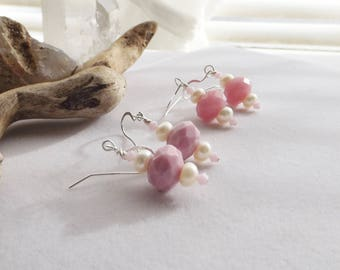 Pink Rose Glass Drop Earrings, Handmade Beaded Pearl Earrings, Pink Swarovski Crystal Earrings, Spring Dangle Earring, Gift for Her, Wedding
