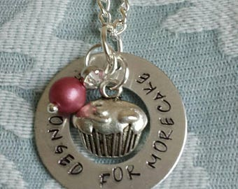She Longed for more cake stamped necklace