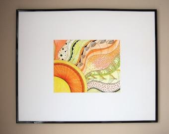 Sundown, sunset art, sun illustration, mandala sun art, mandala art, orange mandala, yellow mandala, orange decor, home decor, art to frame