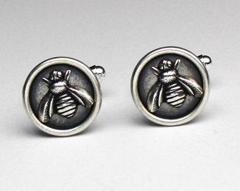 Honey Bee Cuff Links, Silver Cuff Links, Bee Cufflinks, Anniversary Gifts For Men