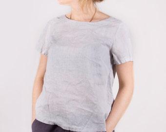 Linen women shirt Short sleeve top Linen women blouse Linen women top Round neckline shirt Linen T-shirt Women Light Grey White Orange shirt