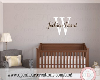 Initial and Name Wall Decal for Girl or Boy Bedroom or Baby Nursery  - Script Elegant Shabby Chic Design Small to Extra Large IN0053