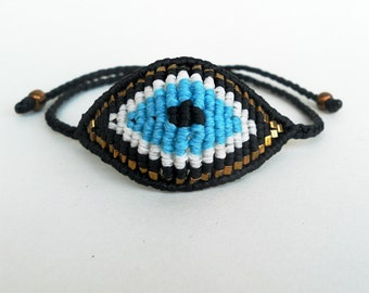 Evil eye bracelet,Beadwoven macrame,Modern greek jewelry,Contemporary wrist bracelet,Braided bracelet,Mal de ojo jewelry,Evil eye protection