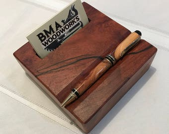 Rustic Mesquite Business Card Block with Wood Pen