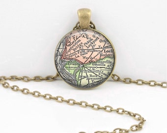 Niagara Falls New York Vintage Map Geography Gift  Pendant Necklace or Key Ring