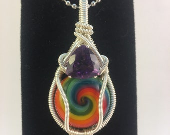Amethyst and Rainbow Cane Cab Wire Wrapped Pendant