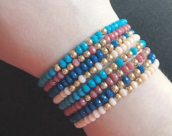 LAURA stack- gemstone beaded stretch bracelet stack- 8 pieces