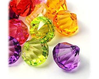 Acrylic pendants wholesale diamonds 31 x 28 mm [Drops] multicolor x 1