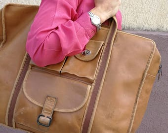 Big Leather Travel Bag Luggage Beige MADE in ITALY by ZIPPO