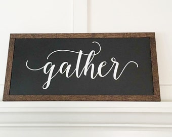 Gather wood sign HANDMADE Farmhouse style gather painted wood sign rustic decor