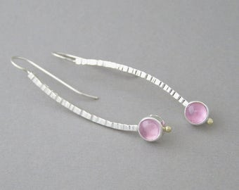 Pink Sapphire Hammered Sterling Silver Curve Earrings ~ Pink Stone Dangle Earrings