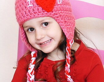 Love Earflap Hat Crochet Pattern *Instant Download*(Permission to sell all finished products)