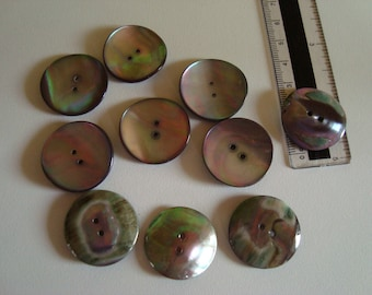 10 buttons in mother of Pearl 2 holes slightly hollow - diameter 25 mm - natural color