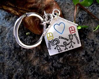 Silver Family Key Ring