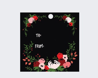 Gift Tags - Pink and Red Florals on Black - Set of 8