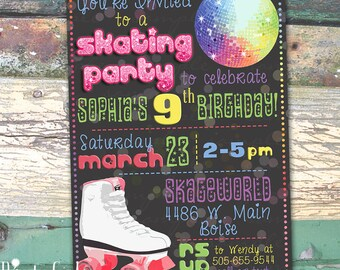 Roller Skating Party Personalized Birthday Chalkboard Printable Invitation Print at Home