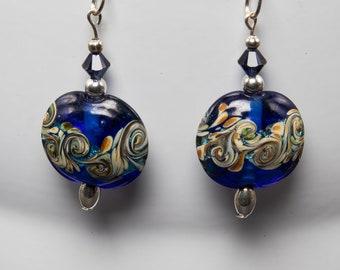 Lampwork cobalt ocean earrings-A380