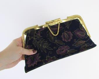 Dark Floral Velvet Clutch Purse - Vintage 1980s Evening Bag