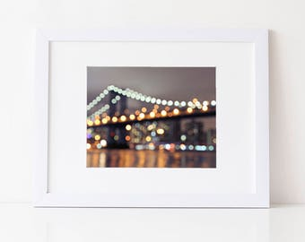 New York City Photography: Manhattan Bridge Print- New York City Print, Brooklyn Bridge Photography, Bridge Print, New York City Art, Bokeh