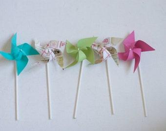 Carnival Circus Decor vintage/Retro First Birthday- 12 mini Pinwheels Fun Fair (Custom orders welcomed)