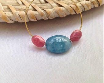 Gold plated hoop earrings, Aquamarine and rhodochrosites