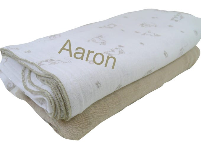 Set of Muslin Cotton Swaddle Blankets, Bunny Rabbit Lightweight Summer Baby Blanket,