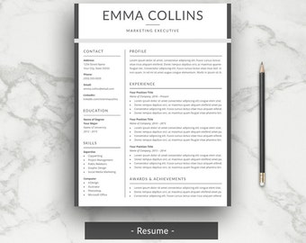 Professional Resume Template | CV Template | Modern Word Resume + Cover  Letter | Printable |
