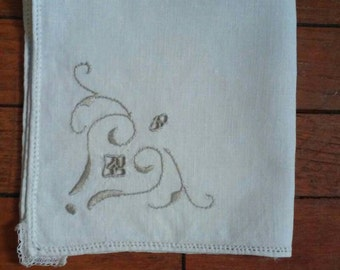 4 Vintage Napkins with Taupe Embroidery