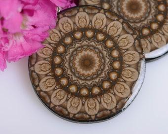 mandala earrings Round earrings brown earrings abstract earrings polymer clay earrings brown jewelry epoxy resin resin earrings yoga gift