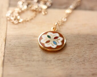 Charm Necklace Enamel, Circle Charm Necklace, Enamel Necklace, Gold Filled Charm Necklace, Orange Necklace, Orange Charm Necklace, Hex Charm