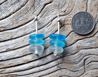 Seaham and English Northeast Coast Sea Glass - Cool Tone Earring Stacks - Direct from Imogen's Beach