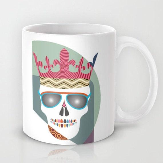 Skull Mug, Cute Mug, Skull Ceramic Mug, Skull Crown,  Skull Tea Mug,  Skull Drinking Coffee Mug, Skull Coffee Mug