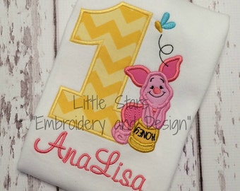 Birthday Shirt with Number and Piglet - Appliqued and Personalized