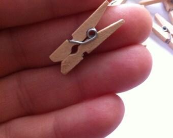 50 Mini wooden Clothespins  / miniature wooden clothespins