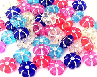 45 translucent flower beads, 10mm acrylic flowers, multicolored 10mm floral