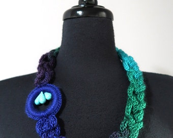 FREE US SHIPPING -Cobalt Blue Turquoise Green Purple Color Cords Crochet Chains Lariat Bib Necklace Crochet Ring Pendant Hawlite Stone Beads
