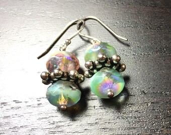 Seafoam Serenity Crystal and Sterling Silver Earrings