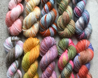 Hand Dyed Sock Yarn Mini Skein Set #162 -- 10 Mini Skeins/25 Yards Each
