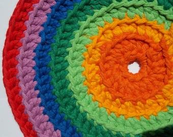 Frisbee large 21 cm diameter rainbow colours crochet flying disc Waldorf Montessori toy indoor outdoor aerodynamic flies to 10 meter try it